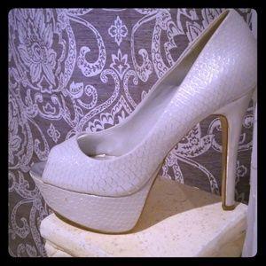 Off white Just Fab Platform Heels